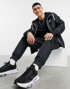Nike zip-through hoodie woven tracksuit set in black